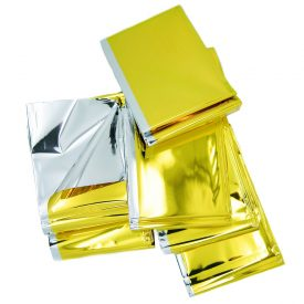 Heat Reflective Survival Mylar Thermal Space Blanket Body Wrap 84x84 Silver Gold (2)