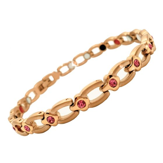 Stainless Steel Lady's Magnetic Power Bracelet. 4-in-1 Energy Magnets + Negative Ions + Far Infrared Rays (FIR) + Germanium. Model BR-S-170. Rose Gold color with Crystals (1)-2