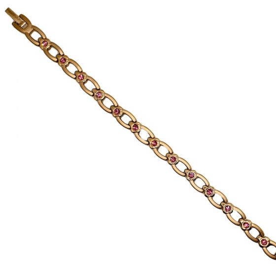 Stainless Steel Lady's Magnetic Power Bracelet. 4-in-1 Energy Magnets + Negative Ions + Far Infrared Rays (FIR) + Germanium. Model BR-S-170. Rose Gold color with Crystals (6)