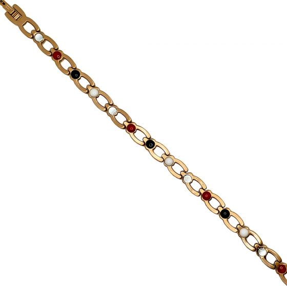 Stainless Steel Lady's Magnetic Power Bracelet. 4-in-1 Energy Magnets + Negative Ions + Far Infrared Rays (FIR) + Germanium. Model BR-S-170. Rose Gold color with Crystals (7)