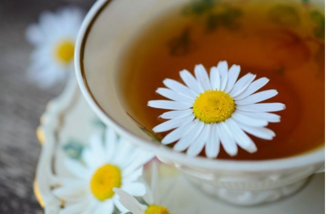 Chamomile tea with a flower in the teacup