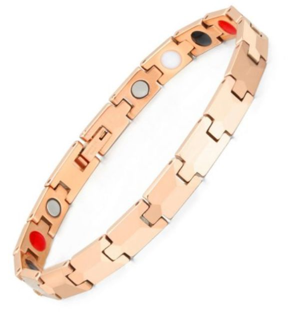 Tungsten Lady's Magnetic Power Bracelet. 5-in-1 Energy: Magnets + Negative Ions + Far Infrared Rays (FIR) + Germanium + Hematite. Model BR-TNG-303. Rose Gold color